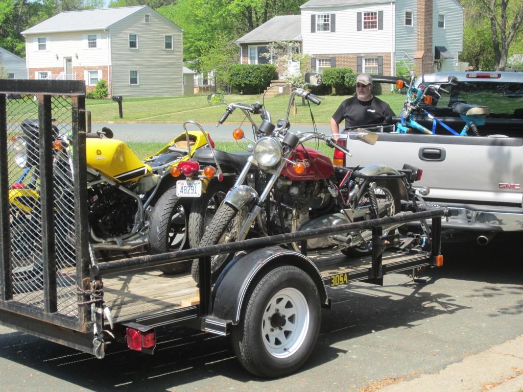A trailer full of bikes.