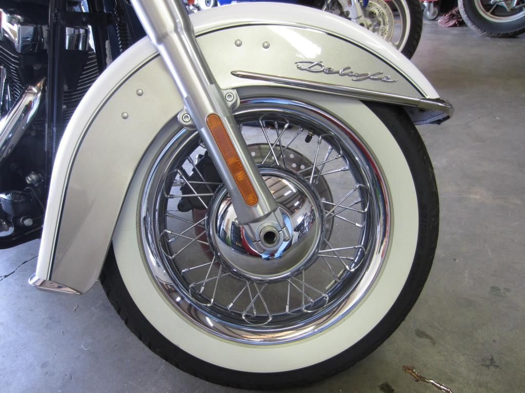 Started with a stock Heritage Softail front wheel.