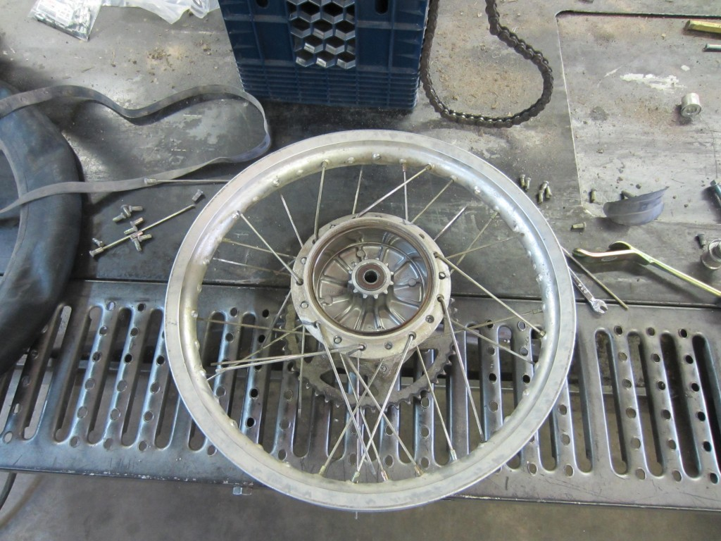 Removing old spokes.